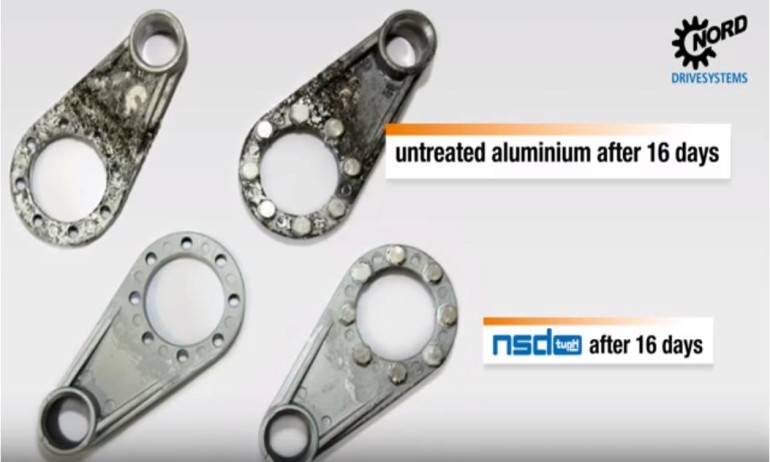 Time lapse test for untreated aluminum versus NSD TUPH